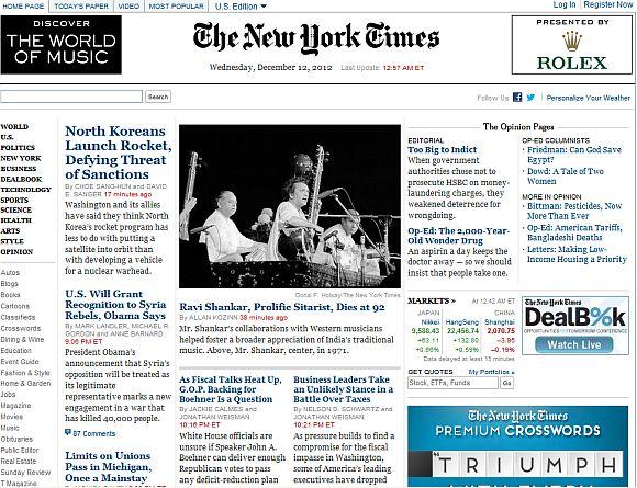 <h3>न्यू यॉर्क टाइम्स, अमेरिका</h3><br/>पश्चिमेकडील संगीताला मदत करणारे आणि भारतीय संगीत जगभरात पोहचविणारे महान सितारवादक यांचे निधन झाल्याची बातमी न्यू यॉर्क टाइमने दिली आहे.