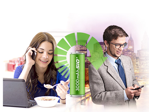 <h3>mAh Li-po बॅटरी</h3><br/><br>बॅटरी ३,००० mAh Li-po  तर अधिक पॉवर आहे. प्रत्येक दिवशी या फोनचा चंगला वापर करू शकतो. खबप जास्त टाईम वापरू शकतो. <br>पारंपारिक ली-आयन बैटरीच्या तुलनेत सुपर कृश आकारची बॅटरी आहे. ग्रॅम चीप असल्याने १०% बॅटरी संचीत राहते.<br>