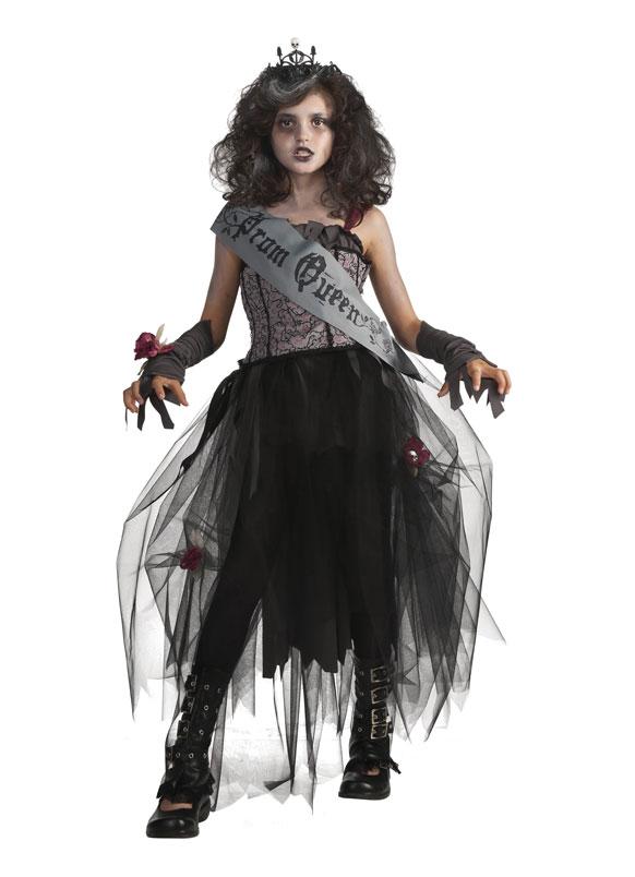 झोंबी क्वीन कॉश्चुम परिधान केलेली मुलगी