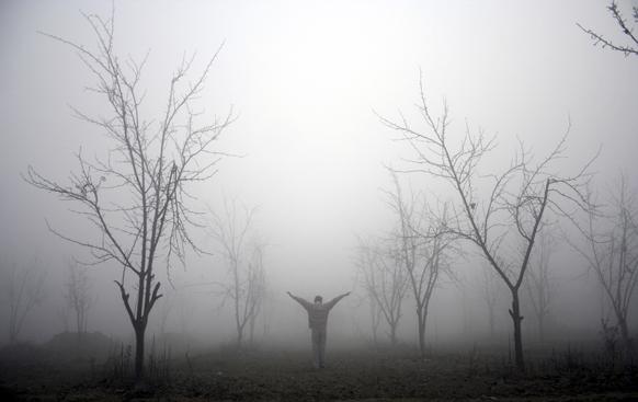 थंडीची लाट...सकाळ आणि धुके. अमृतसरमधील हे छायाचित्र