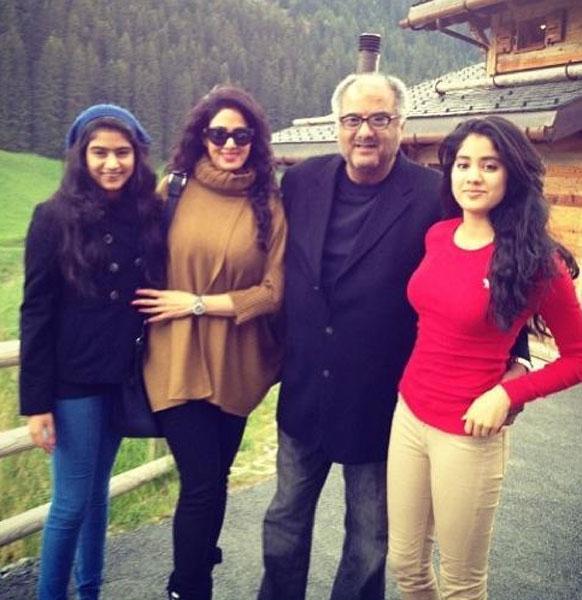 श्रीदेवी आपल्या कुटुंबासोबत स्विट्झर्लंडमध्ये