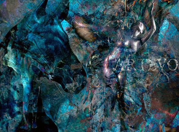 फिनलॅंडचे चित्रकार किवीनेन यांनी रंगाचा वापर करून वीणाच्या शरीरावर वेगवेगळ्या पाच आकृत्या काढल्या.