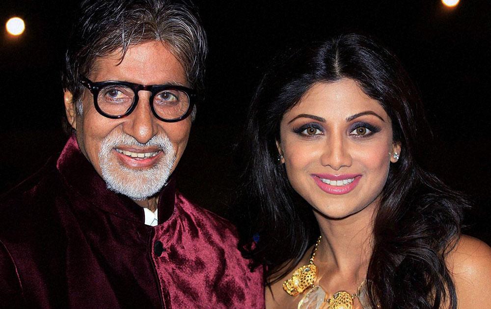एका पुरस्कार सोहळ्यात बिग बी अमिताभ बच्चन आणि शिल्पा शेट्टी