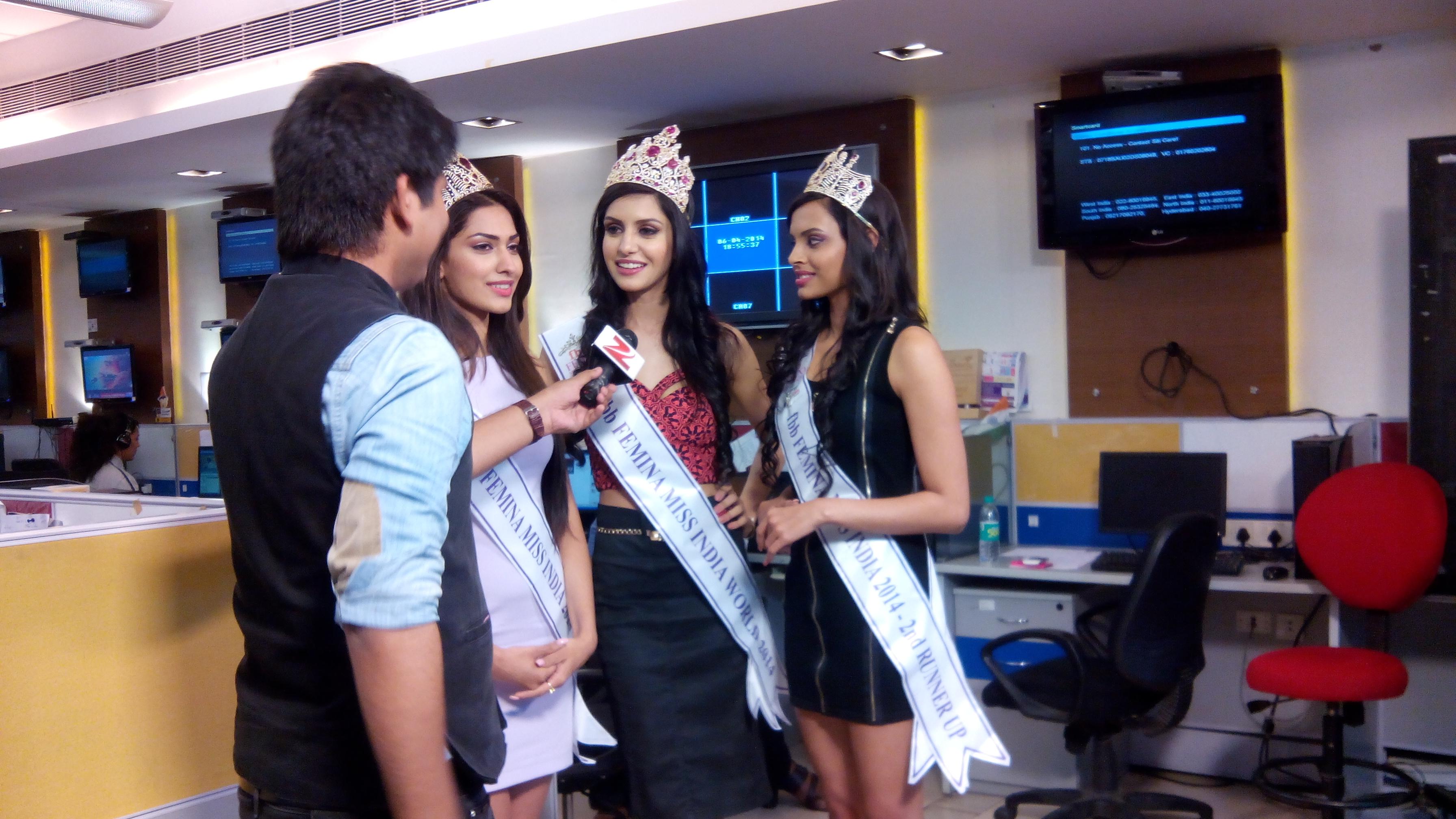 'फेमिना मिस इंडिया-२०१४' कोयल राणा आणि दोन्ही उपविजेत्या सौंदर्यवतींनी झी मीडियाच्या ऑफिसला भेट दिली