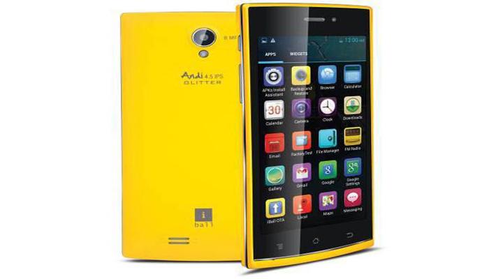 <p>आयबॉल अॅन्डी 4.5P ग्लिटर<br /> किंमत: 5600 रुपये.</p>  <p>* अँड्रॉइड 4.2.2 जेली बीनवर चालणारा आयबॉल अॅंडी 4.5P ग्लिटर याफोन मध्ये 854x480 पिक्सल रेजॉलूशन असलेलं&nbsp;4.5 इंचचा डिस्प्ले आहे.</p>  <p>* 1.3 गीगाहर्टझ &nbsp;कॅाड कोअर प्रोसेसर आणि 512 एमबी रॅम आहे.</p>  <p>* मागचा कॅमेरा एलईडी फ्लॅशसोबत 8&nbsp;मेगापिक्सल आणि फ्रंट कॅमेरा 0.5 मेगापिक्सल आहे.</p>  <p>* इंटरनल स्टोरेज 4 जीबी आणि 32 जीबी माइक्रो-एसडी कार्ड&nbsp;एक्सपान्डेबल आहे.</p>  <p>* बॅटरी 1450 मेगाहर्टझची आहे.&nbsp;</p>  <p>&nbsp;</p>
