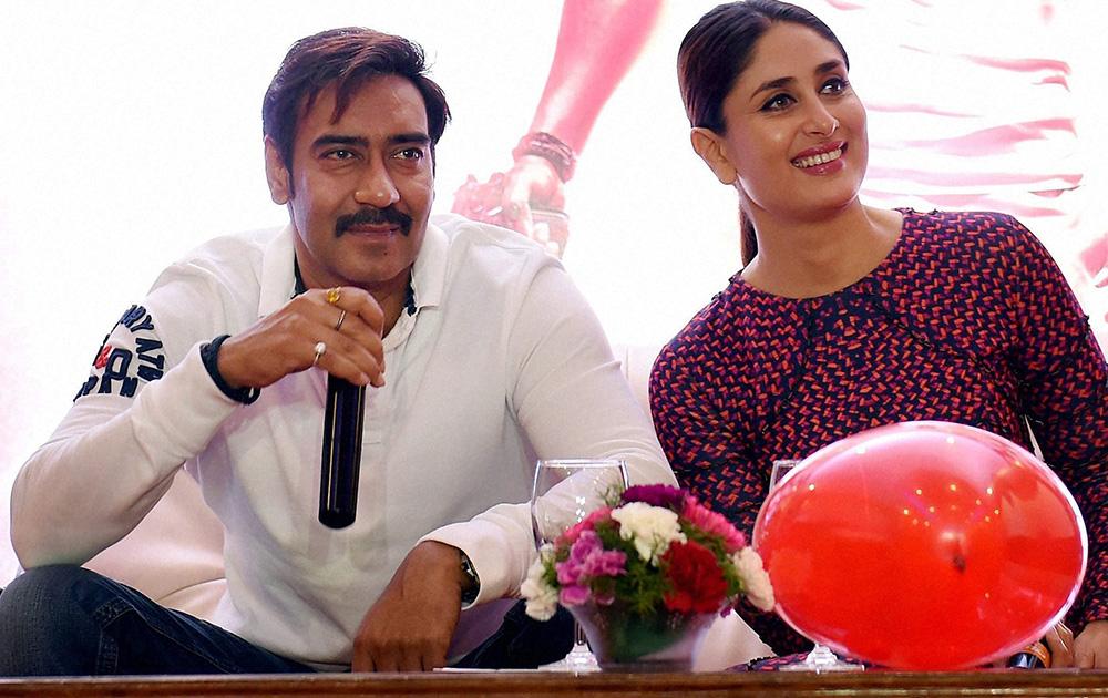 अभिनेता अजय देवगण आणि करीना कपूर आपल्या नव्या सिनेमाच्या प्रेमोशनसाठी एकत्र