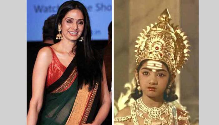 <p>७) &nbsp;श्रीदेवी कपूर (जन्म - 13 ऑगस्ट, 1963)<br /> बालकलाकार - मुंदरू मुडीचू (Moondru Mudichu) (1976, तमिळ फिल्म)। याशिवाय अनेक पौराणिक सीरियल्स आणि तमिळ, तेलुगू, कन्नड़ चित्रपटांमध्ये काम केलं.&nbsp;<br /> अभिनेत्री - सोलहवां सावन (1978), हिम्मतवाला (1983), मिस्टर इंडिया (1987), चांदनी (1989), सदमा (1983), खुदा गवाह (1992), लाडला (1994), जुदाई (1997), इंग्लिश-विंग्लिश (2013)</p>  <p>&nbsp;</p>