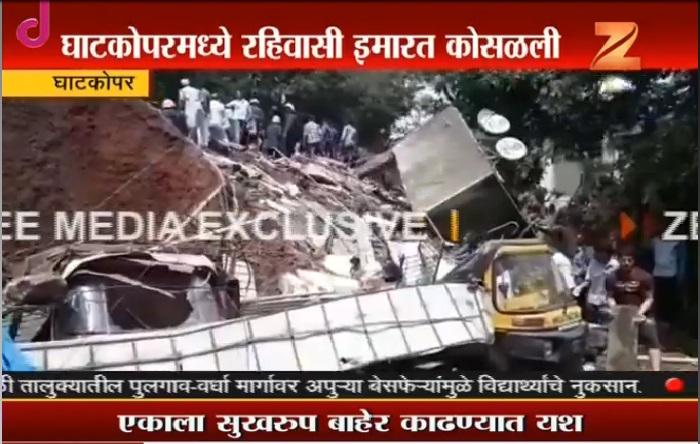 Live: घाटकोपरमध्ये चार मजली इमारत कोसळली