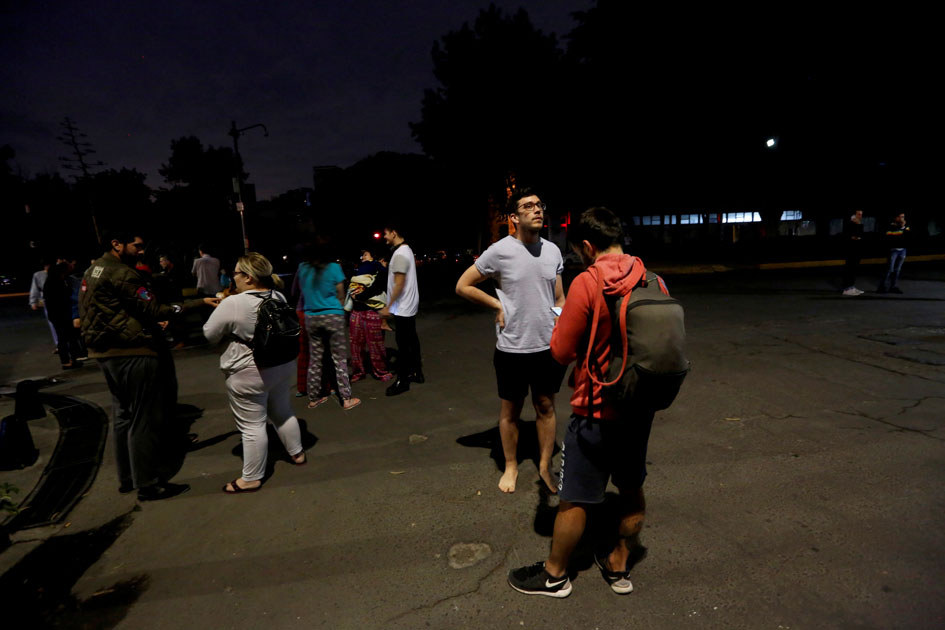 People on a street after an earthquake hit Mexico City