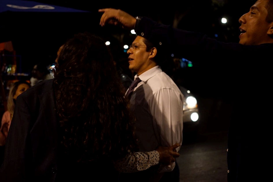 People react on a street after an earthquake jolted Mexico City, capital of Mexico