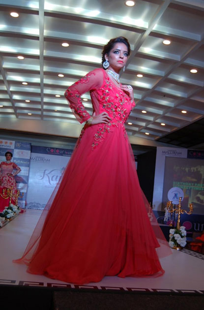 A woman walks the ramp during a fashion show organized on Karva Chauth in Amritsar.