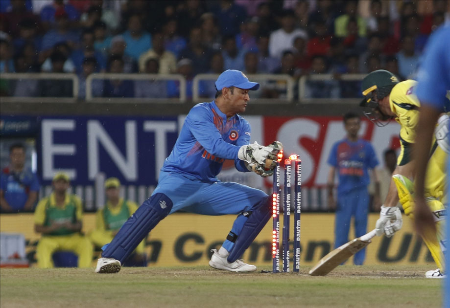 Daniel Christian of Australia gets dismissed during the first T20 match between India and Australia at JSCA International Stadium in Ranchi.