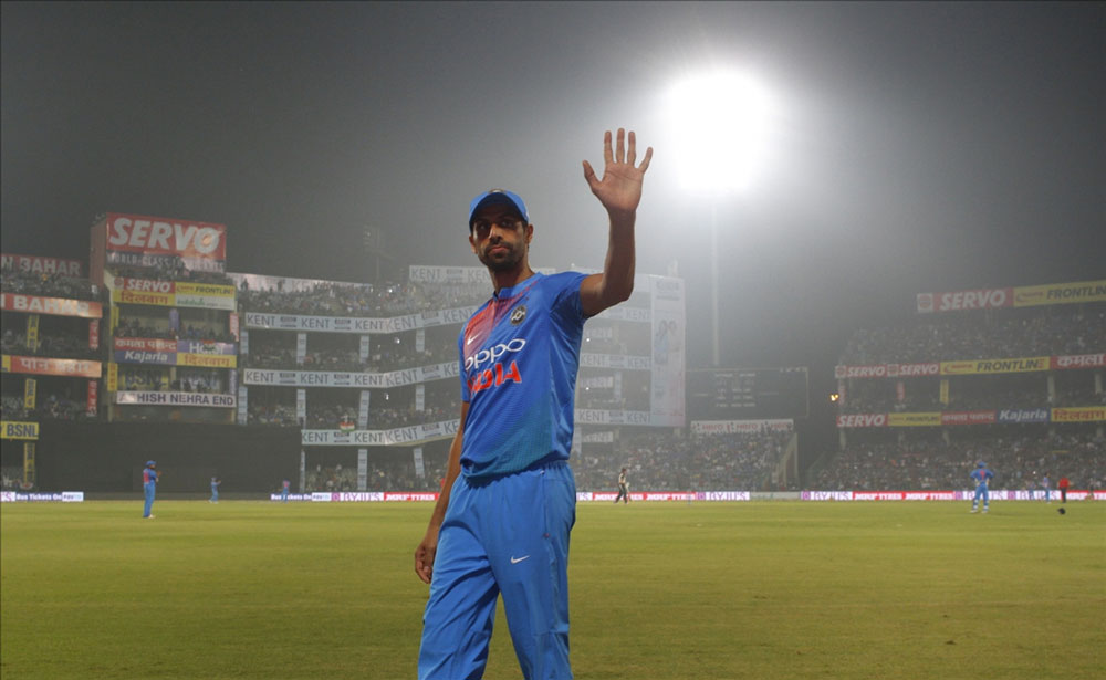 Ashish Nehra of India during the first T20 match between India and New Zealand at Feroz Shah Kotla stadium in New Delhi.