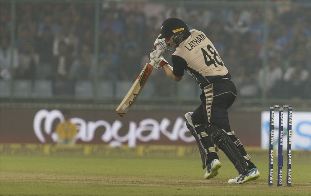 Tom Latham of New Zealand in action during the first T20 match between India and New Zealand at Feroz Shah Kotla stadium in New Delhi