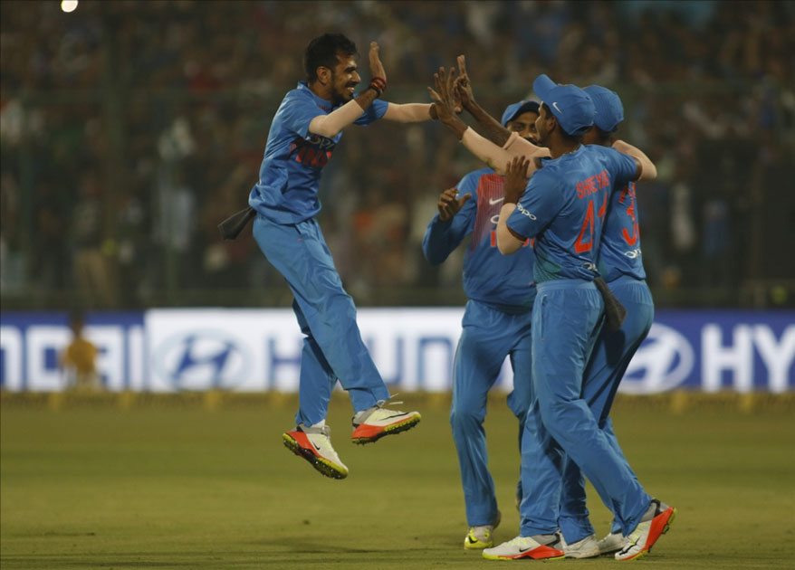 Yuzvendra Chahal of India celebrates fall of Martin Guptill`s wicket during the first T20 match between India and New Zealand at Feroz Shah Kotla stadium in New Delhi.