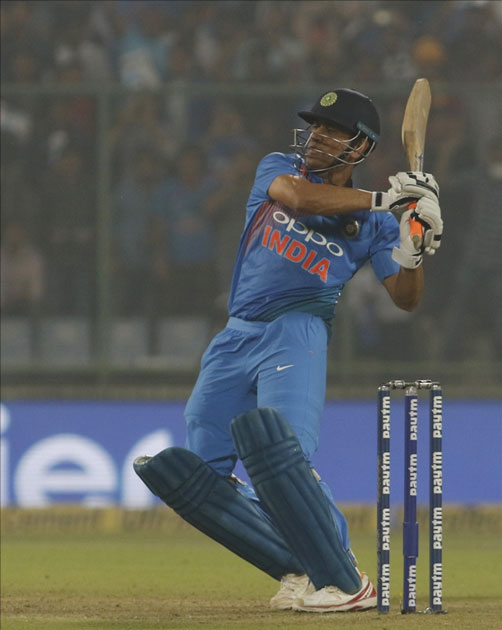 MS Dhoni of India in action during the first T20 match between India and New Zealand at Feroz Shah Kotla stadium in New Delhi.