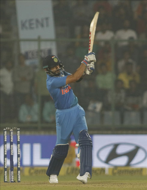 Indian captain Virat Kohli in action during the first T20 match between India and New Zealand at Feroz Shah Kotla stadium in New Delhi.