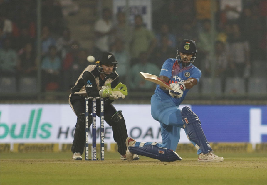 Shikhar Dhawan of India in action during the first T20 match between India and New Zealand at Feroz Shah Kotla stadium in New Delhi.