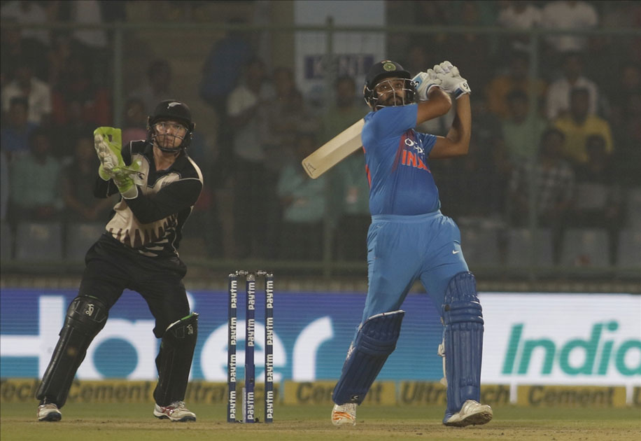 Rohit Sharma of India in action during the first T20 match between India and New Zealand at Feroz Shah Kotla stadium in New Delhi.