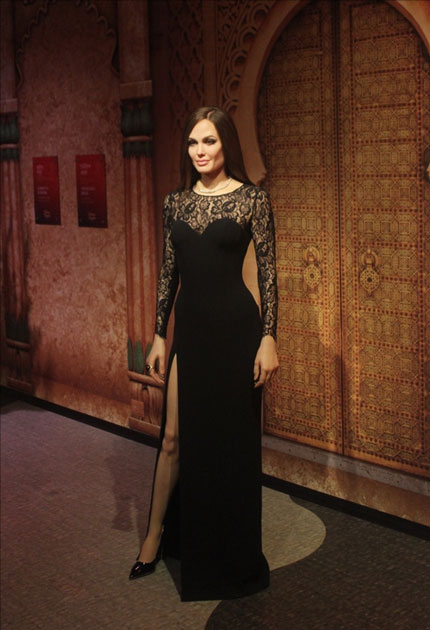 A wax statue of actress Angelina Jolie at Madame Tussauds Wax Museum in New Delhi.