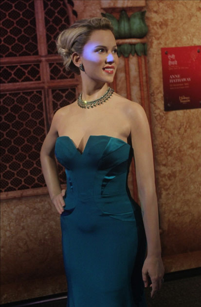 A wax statue of actress Scarlett Johansson at Madame Tussauds Wax Museum in New Delhi.