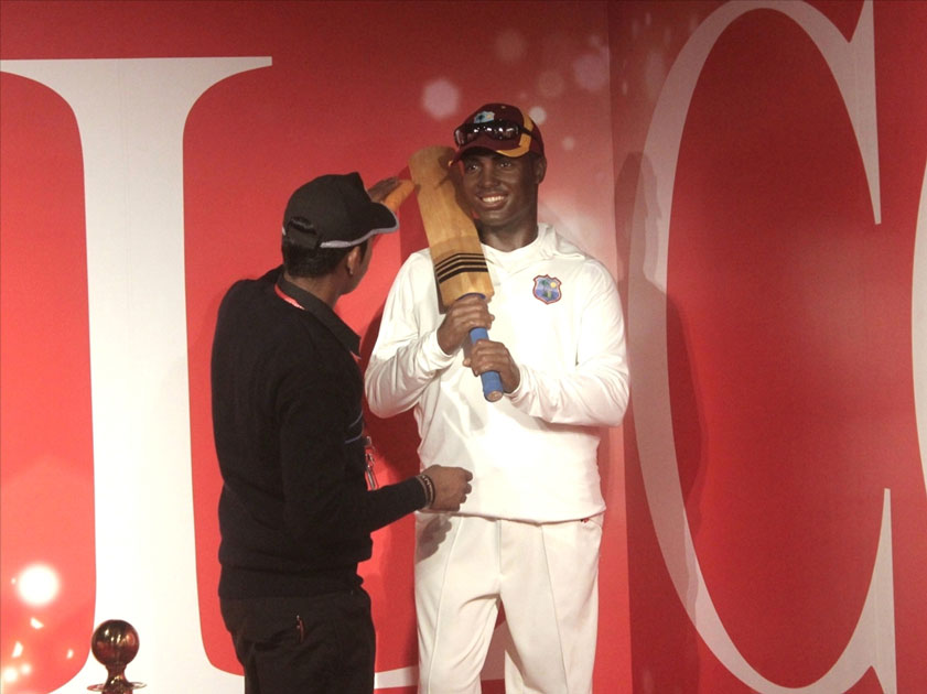 Wax statues of cricketer Brian Lara at Madame Tussauds Wax Museum in New Delhi.