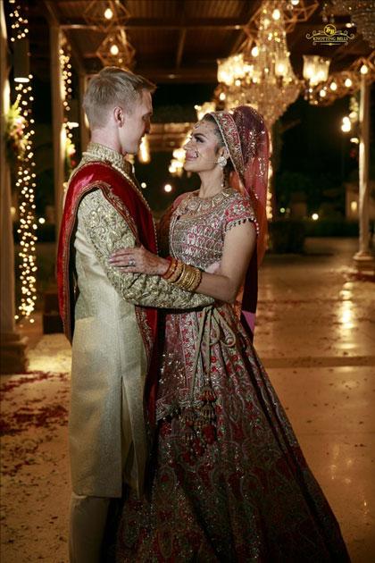 Actress Aashka Goradia and Brent Goble during their wedding in Mumbai.