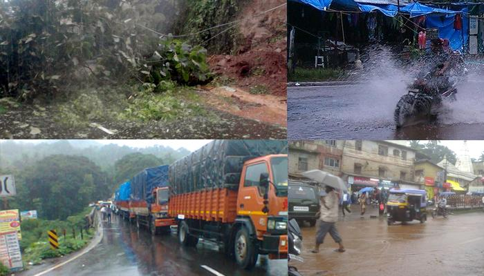 कोकणात मुसळधार पाऊस, मुंबई-गोवा महामार्गावर दरड