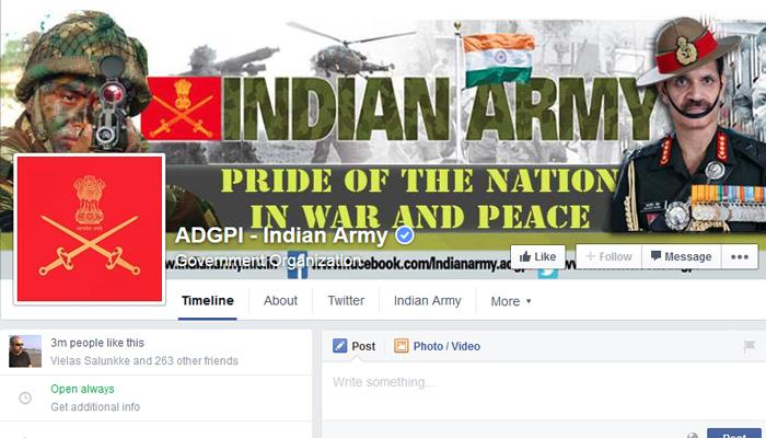 अमेरिका,पाकिस्तानला मागे टाकत इंडियन आर्मीचं फेसबुक पेज टॉपवर