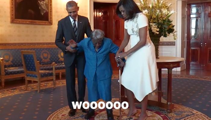 ओबामांनी केला  १०६ वर्षांच्या आजींसोबत डान्स