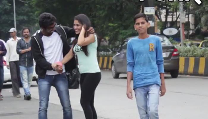 व्हिडिओ : मुलगी अनोळखी लोकांना मिठी मारायला जाते तेव्हा...