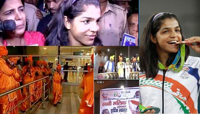कास्यपदक विजेती साक्षी मलिकचं दिल्लीत जंगी स्वागत