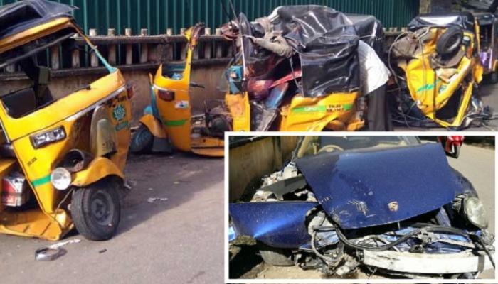 महागड्या पोर्शे कारने १२ रिक्षांना चिरडलं, १ ठार