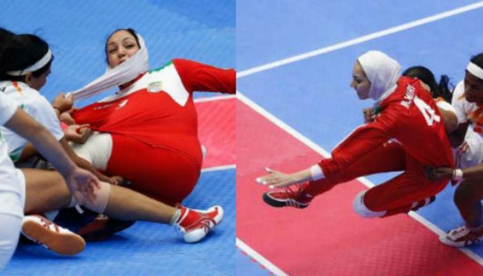 व्हिडिओ : ...जेव्हा मैदानातच ईराणी खेळाडुचा हिजाब पडला!