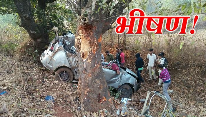 फोटो : मुंबई-गोवा महामार्गावर अपघात; सात जण जागीच ठार