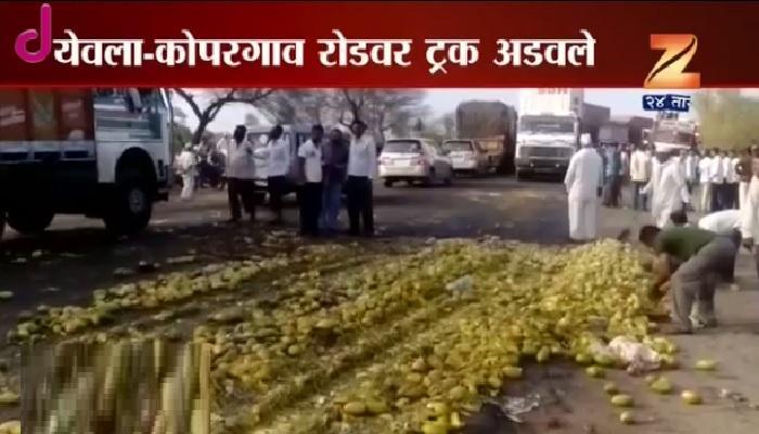नाशिक जिल्ह्यात शेतकरी आक्रमक, दूध रस्त्यावर सांडले