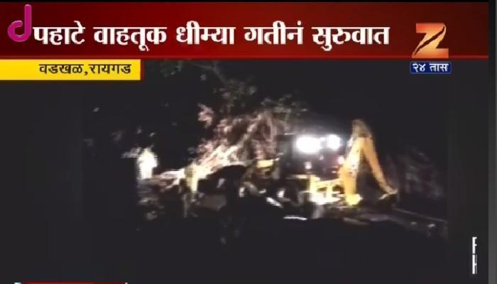 मुंबई-गोवा महामार्गावर झाड कोसळल्याने वाहतूक मंदावली