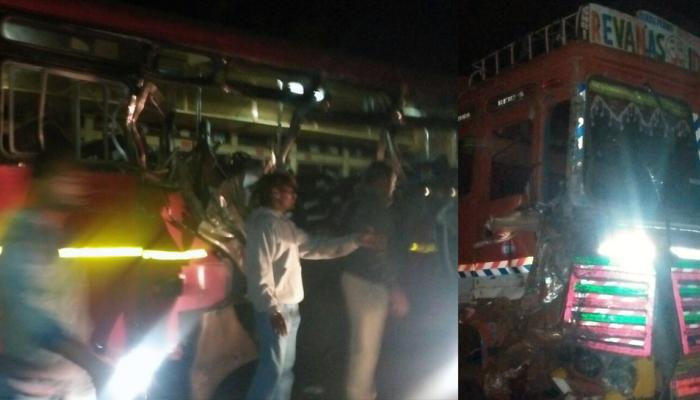 बस-ट्रक अपघातात ३ ठार, ७ जखमी