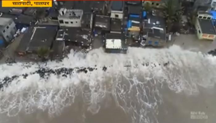 अजस्त्र लाटांमुळे सातपाटी समुद्र किनाऱ्यावरील बंधाऱ्याला भगदाड