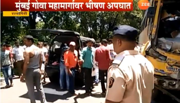 मुंबई - गोवा महामार्गावर भीषण अपघात, पाच ठार