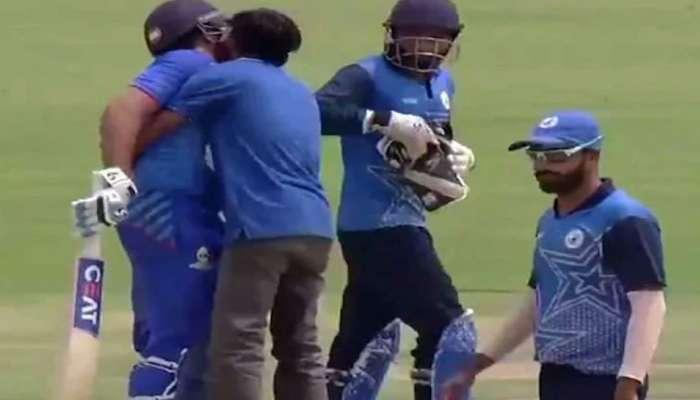 VIDEO: फॅननं मैदानात येऊन रोहित शर्माला केलं किस, रितीका म्हणते...