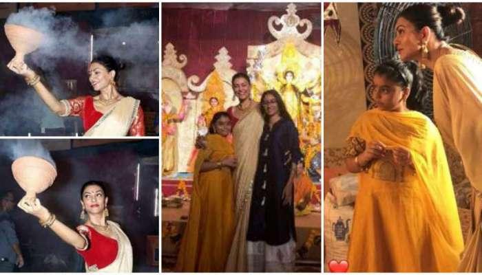 सुष्मिता सेनने मुलींसोबत अशी केली दुर्गापूजा