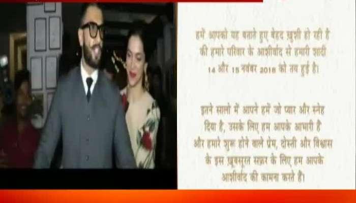 Ranveer Singh And Deepika Padukone To Get Marry In November Date Confirms